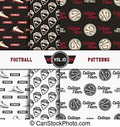 Set of american football patterns. Usa sports seamless background collection. Sport wallpaper with scorer in monochrome and color design. Vector soccer equipment graphic. Sketch, hand drawn style.