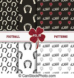 Set of american football patterns. Usa sports seamless background collection. Sport wallpaper with clover in monochrome and color design. Vector soccer equipment graphic. Sketch, hand drawn style.