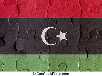 Libya flag puzzle - Illustration of a flag of Libya over...