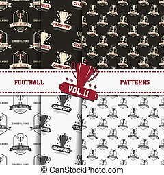 Set of american football patterns. Usa sports seamless background collection. Sport wallpaper with cup in monochrome and color design. Vector soccer equipment graphic. Sketch, hand drawn style.