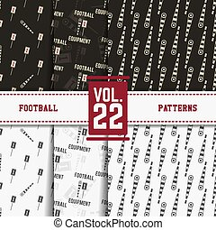 Set of american football patterns. Usa sports seamless background collection. Sport wallpaper with markers in monochrome and color design. Vector soccer equipment graphic. Sketch, hand drawn style.