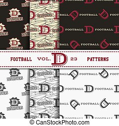 Set of american football patterns. Usa sports seamless background collection. Sport wallpaper with logo in monochrome and color design. Vector soccer equipment graphic. Sketch, hand drawn style.
