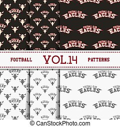 Set of american football patterns. Usa sports seamless background collection. Sport wallpaper with eagle in monochrome and color design. Vector soccer equipment graphic. Sketch, hand drawn style.