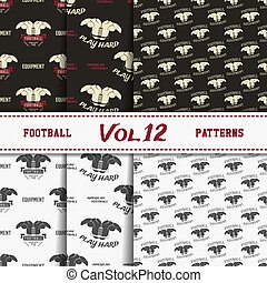 Set of american football patterns. Usa sports seamless background collection. Sport wallpaper with paddle in monochrome and color design. Vector soccer equipment graphic. Sketch, hand drawn style.