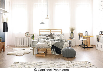 Bedroom with wooden furniture