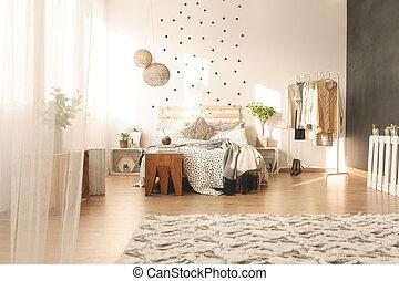 Trendy bedroom interior