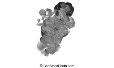 Close-up black Ink or smoke with alpha mask underwater move in slow motion. VFX Cloud of Ink for transitions, background, overlay and effects. For alpha channel use alpha matte. Ver 17