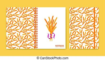 Cover design for notebooks or scrapbooks with wheat. Vector...