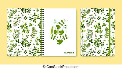 Cover design for notebooks or scrapbooks with legume plants....