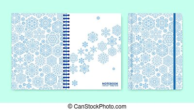 Cover design for notebooks or scrapbooks with snowflakes