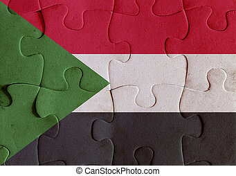 North Sudan flag puzzle - Illustration of a flag of North...