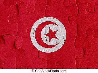 Tunisia flag puzzle - Illustration of a flag of Tunisia over...