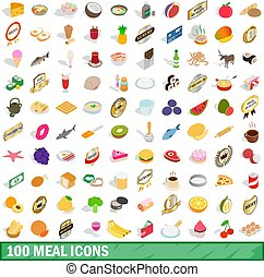100 mains icons set, isometric 3d style - 100 mains icons...