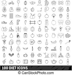100 diet icons set, outline style - 100 diet icons set in...