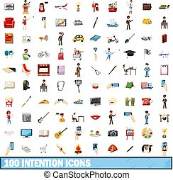 100 intention icons set, cartoon style - 100 intention icons...