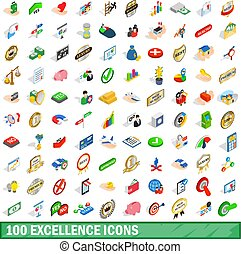 100 excellence icons set, isometric 3d style