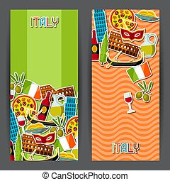 Italy banners design. Italian sticker symbols and objects.