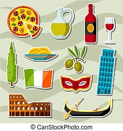 Italy icons set. Italian sticker symbols and objects.