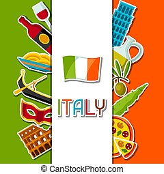 Italy background design. Italian sticker symbols and...