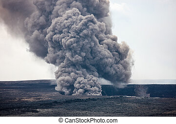 Kilauea Caldera Smoking, Big Island - Volcanic activity...