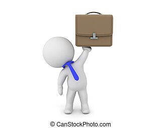 3D Character as white collar worker holding up a briefcase....