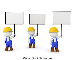 3D Illustration of worker strike. The workers are wearing...