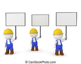 3D Illustration of worker strike