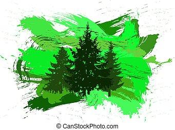Silhouette of pine treea