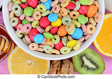 cereal with candy on table