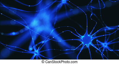 Neurons Electrical Pulses - 3D illustration of...