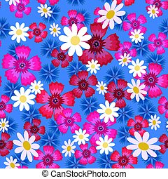 carnations, cornflowers and daisies1-01 - Seamless pattern...