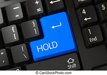 Keyboard with Blue Button - Hold. 3d. - Concepts of Hold on...