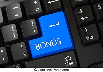 Bonds CloseUp of Blue Keyboard Button. 3d. - Bonds Written...