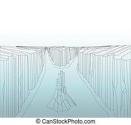 Image nature landscape - Canyon landscape. Wild rocks....
