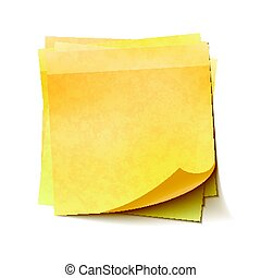 Different yellow sticky notes in pile on white background -...
