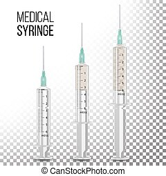 Vector Plastic Medical Syringe Isolated 3d Realistic...