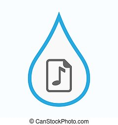 Isolated water drop with a music score icon - Illustration...