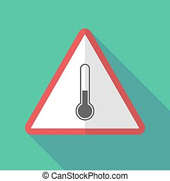 Long shadow warning sign with  a thermometer icon