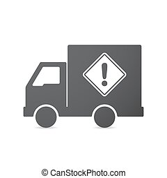 Isolated truck with   a warning road sign
