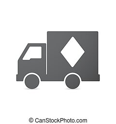 Isolated truck with  the  diamond  poker playing card sign
