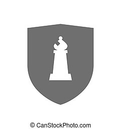 Isolated shield with a bishop chess figure - Illustration of...