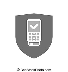 Isolated shield with a dataphone icon - Illustration of an...