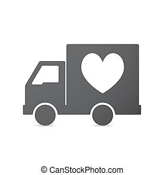 Isolated truck with  the heart poker playing card sign