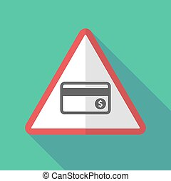 Long shadow warning sign with a credit card - Illustration...