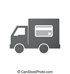 Isolated truck with  a credit card
