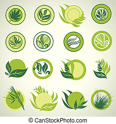 Signs with green leafs - Set of signs with green leafs 2 -...