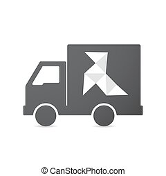 Isolated truck with  a paper bird