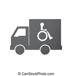 Isolated truck with a human figure in a wheelchair icon -...