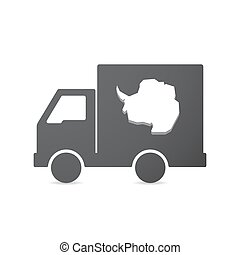 Isolated truck with  the map of  Antarctica