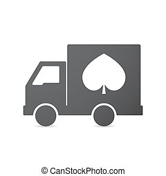 Isolated truck with  the  spade  poker playing card sign